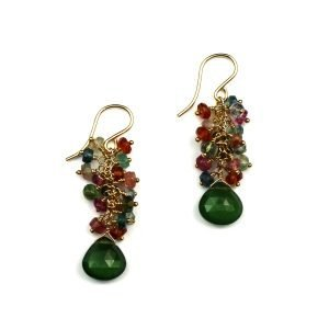 Forest Green Brio Cluster Earrings-0