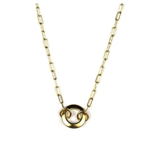 Petite Open Circle Safety Pin Necklace-0