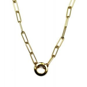 Corrugated Open Circle Safety Pin Neclace-0