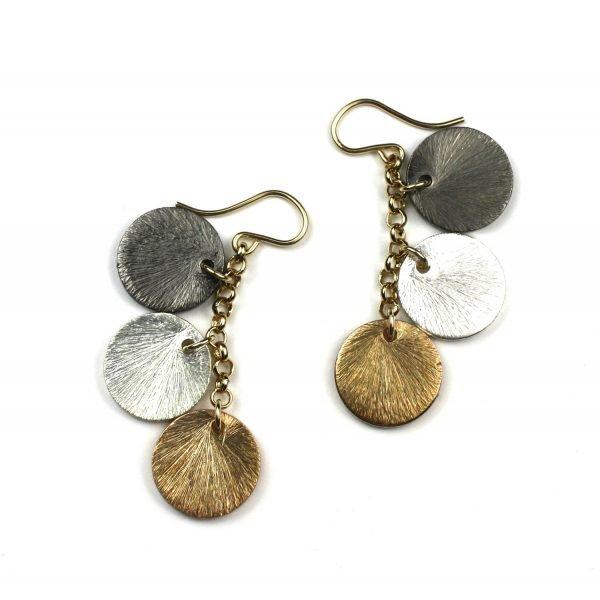 Brushed Disc Charm Earrings-5028