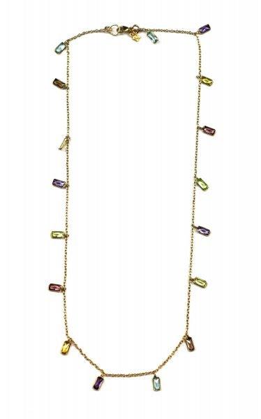Multi-Colored Baguette Dangle Chain Necklace-5071