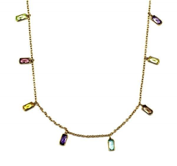 Multi-Colored Baguette Dangle Chain Necklace-0