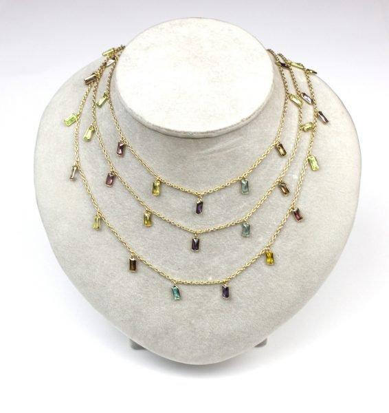Multi-Colored Baguette Dangle Chain Necklace-5070